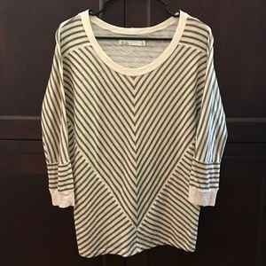 Hi-Line by Madewell Brown Ivory Stripe Top Small